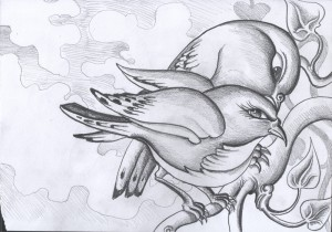 Sketch of Birds for the Migrations Project by Mike Stuart